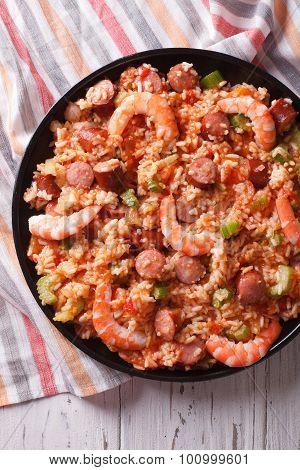 Creole Jambalaya With Shrimp And Sausage Close-up. Vertical Top View