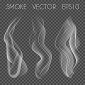Постер, плакат: Vector set of transparent realistic white grey smoke