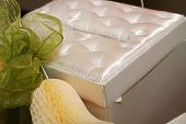 picture of dowry  - satin money box at a wedding reception on the gift table - JPG