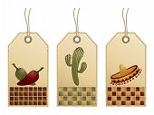 foto of mexican fiesta  - set of gradient gift tags with mexican motifs isolated on white - JPG