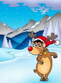 stock photo of cariboo  - Christmas theme with happy reindeer  - JPG