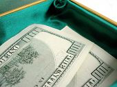 Green Small Box With One Hundred Dollar Bill Sticking poster