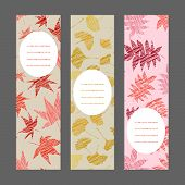 Постер, плакат: Set of vertical autumn banners Harvest berry ornament Vector Illustration