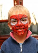 Boy Face Painted As Hero