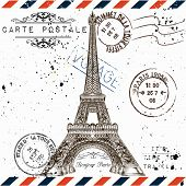 ������, ������: bonjour Paris Imitation Of Vintage Post Card With Eiffel Tower And Post Stamps Paris Voyage Tra