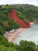 stock photo of landslide  - Coastal landslip photographed at Babbacombe in Devon