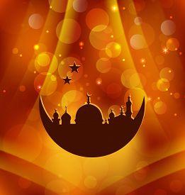 stock photo of ramazan mubarak  - Illustration greeting card template for Ramadan Kareem  - JPG
