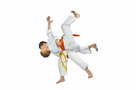 picture of judo  - Two athletes in judogi are doing throws judo - JPG