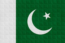 foto of pakistani flag  - flag of Pakistan or Pakistani banner on check pattern background - JPG
