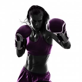 pic of boxers  - one woman boxer boxing kickboxing in silhouette isolated on white background - JPG