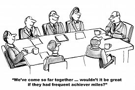 picture of mile  - Business cartoon showing seven people in meeting room - JPG