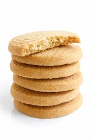 pic of shortbread  - Stack of round shortbread biscuits isolated on white - JPG