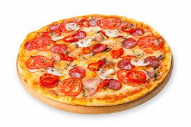 foto of crust  - Delicious spicy pizza with mushrooms chili peppers and pepperoni  - JPG