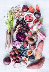 picture of radish  - Collection of fresh purple toned vegetables and fruits on white rustic background - JPG