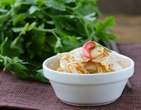 foto of kimchi  - traditional Korean spicy taste pickled cabbage  - JPG