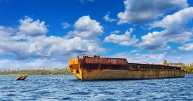 pic of barge  - old barges at anchor on the river - JPG