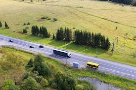foto of truck-stop  - highway with cars - JPG