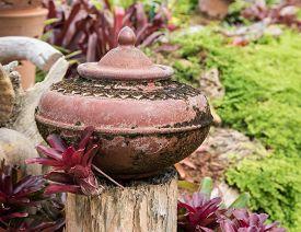 picture of pottery  - Mini garden decoration by pottery jar pottery pitcher - JPG