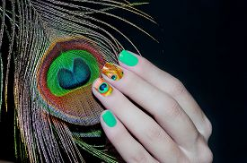 picture of female peacock  - Peacock feather and green nail art in inverted colours - JPG