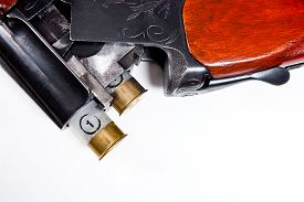 foto of shotgun  - Hunting shotgun and ammunition on white background - JPG