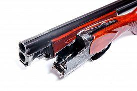 picture of shotgun  - Hunting shotgun on white background - JPG