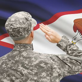 stock photo of samoa  - National military forces with flag on background conceptual series  - JPG