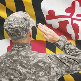 foto of maryland  - Soldier saluting to USA state flag conceptual series  - JPG