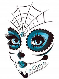 stock photo of day dead skull  - Sugar skull girl face with make up for Day of the Dead  - JPG