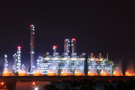 picture of gas-pipes  - beautiful scenic of petrochemical oil refinery plant shines at night - JPG