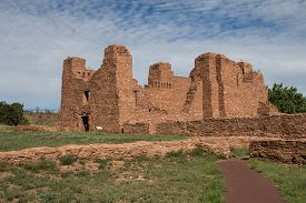 stock photo of pueblo  - Historic Ruins of Pueblo Missions near Mountainair - JPG
