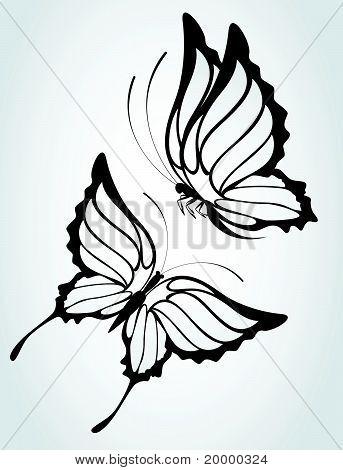 zwei Schmetterling Schwarz auf weißem Hintergrund