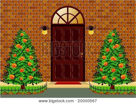 Haus Fassade mit Türen und Betten mit Bäumen