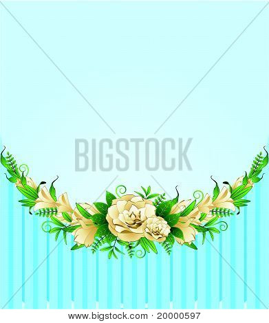 Blumen auf gelbem Grund mit einem Platz für den text