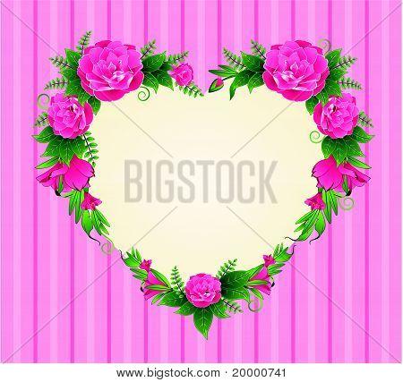 Roses situé sous la forme de coeur à fond.