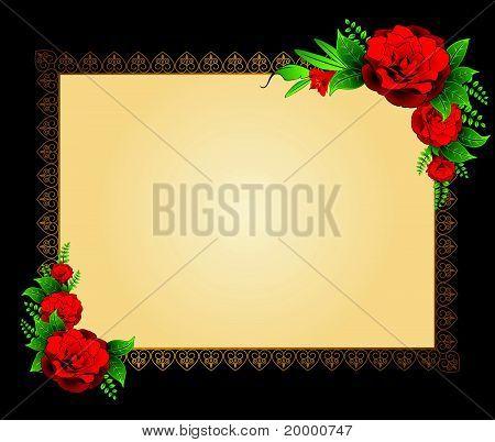 Rode bloemen op de achtergrond van een decoratief frame voor tekst