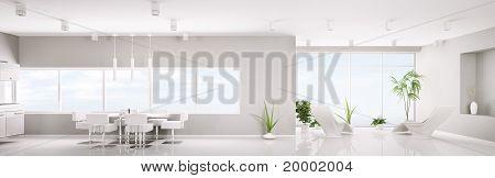 Modern Interior Of White Apartment Panorama 3D Render