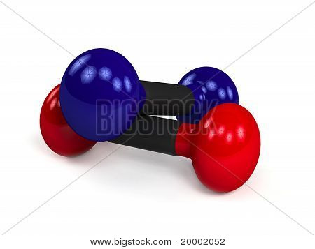 Two isolated dumbbells over white background
