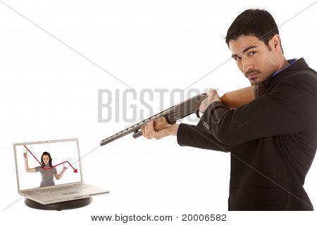 Business Man Shotgun Laptop