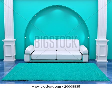 Inteiror. Sofa Between The Columns In Blue Room
