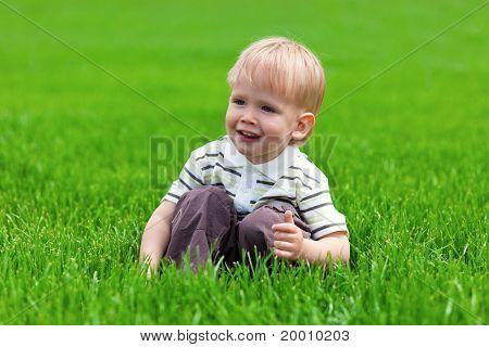 Sorridente menino sentado na grama fresca