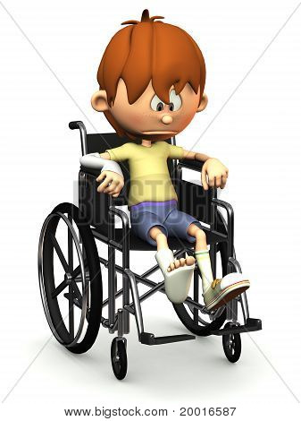 Sad Cartoon Boy In Wheelchair.