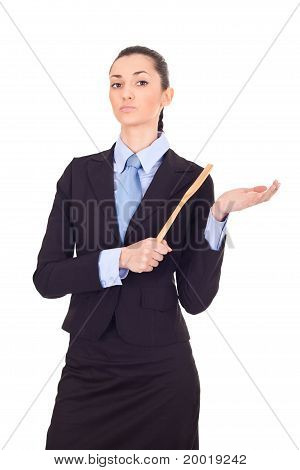 Businesswoman Holding Wooden Spoon