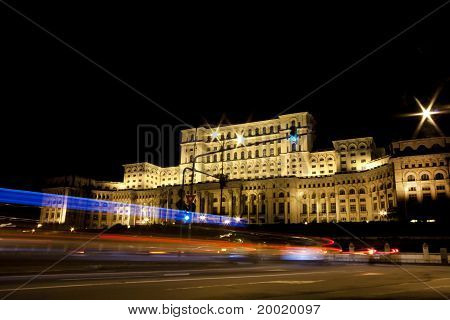 Green Light, Photo Taken In Front Of The Palace Of The Parliament In Bucharest, Romania.