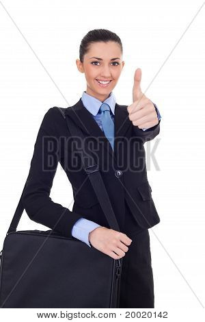 Businesswoman Shoving Thumbs Up