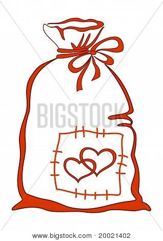 Valentine bag with hearts