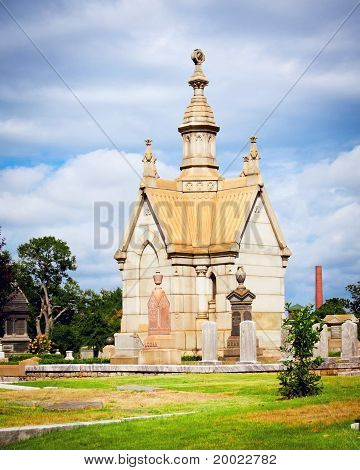 19th century crypt or mausoleum at Oakland cemetery in Atlanta.