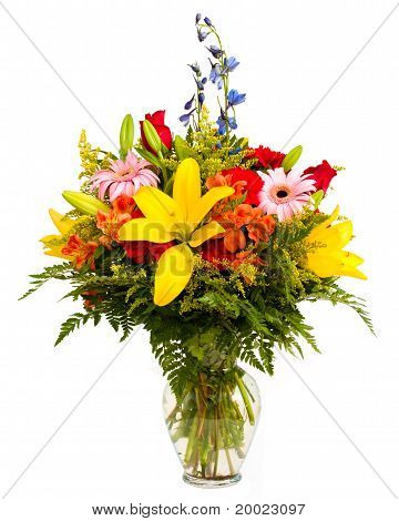 Colorful flower arrangement isolated on white.