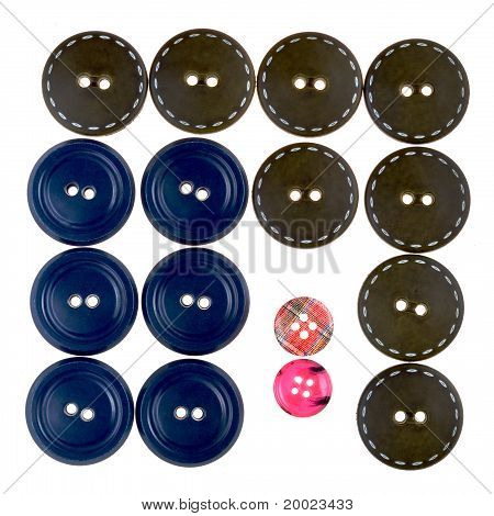 Set Of Bid And Small Buttons