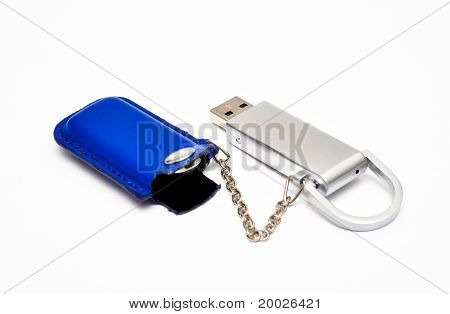 flash card with a blue leather case and chain