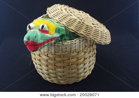 Snake Puppet in Basket